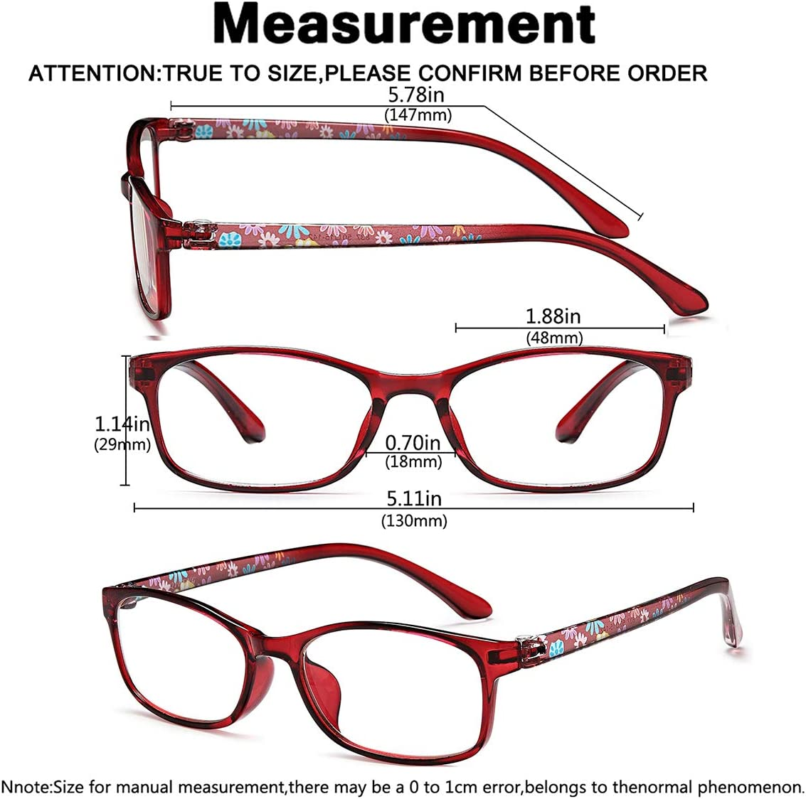 Ladies Blue Light Blocking Reading Glasses   200 Pack Computer Readers for  Womens +200.2005 Blue Ray Eyeglasses and Hard Case