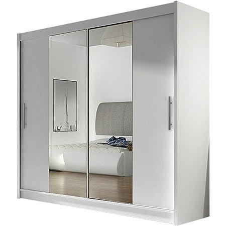 Kleiderschrank London Ii Mit Spiegel Schiebetürenschrank Schwebetürenschrank Modernes Schlafzimmerschrank 180x215x57cm Garderobe Schlafzimmer Weiß Küche Haushalt