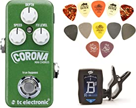 TC Electronic Corona Mini Chorus Pedal Bundle with Clip-On Tuner and PVP101 Pick Pack