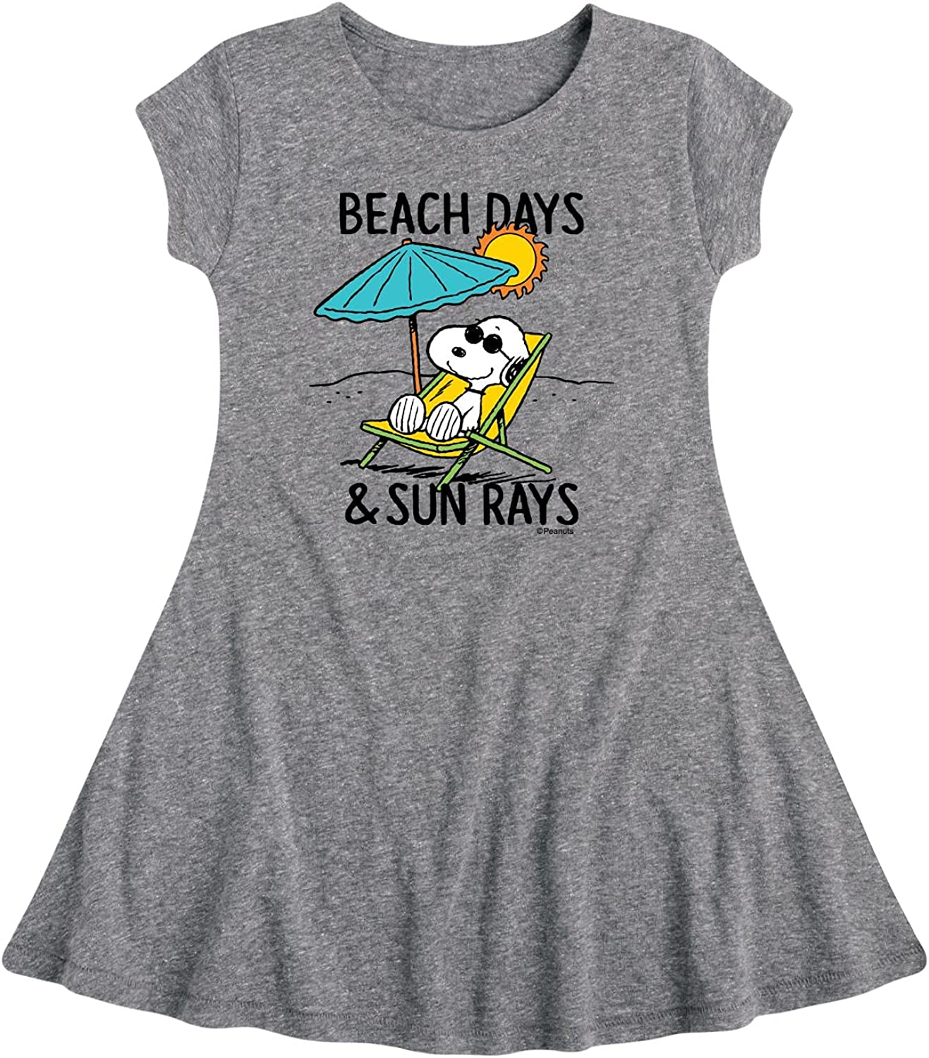 Peanuts - Beach Days Sun Rays - Toddler and Youth Girls Fit and Flare Dress