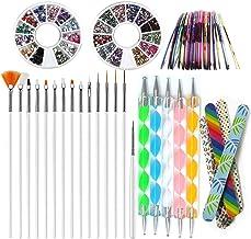 Nail Art Tools Manicure Kit 15PCS Nail Painting Brush 5PCS Nail Dotting Pen 2 Boxes Nails Rhinestones Decoration 10PC Striping Tape 5PC Nail Files 1PC Stick Pusher Pedicure Set