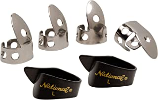 National NP1-8B Thumb & Finger Pick Pack - Stainless Steel/Black - Large