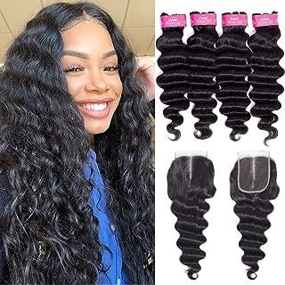 FQ Brazilian Loose Deep Wave Bundles with Closure (18 20 22 24+16) Middle Part Unprocessed 10A Virgin Human Hair Bundles and Closure Brazilian Loose Deep Curly Weave 4 Bundles with Closure