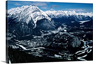 GREATBIGCANVAS Gallery-Wrapped Canvas Cascade Mountain and The Historic Banff Springs Hotel from Sulphur Mountain in Banff by 24
