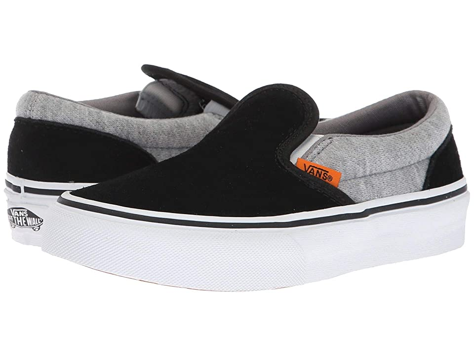 Vans Kids Classic Slip-On (Little Kid/Big Kid) ((Suede & Jersey) Gray/Black) Boys Shoes
