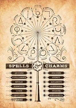 """MightyPrint Harry Potter - Spells and Charms - Wand Patterns - Durable 17"""" x 24"""" Wall Art – NOT Made of Paper – Officially Licensed Collectible"""