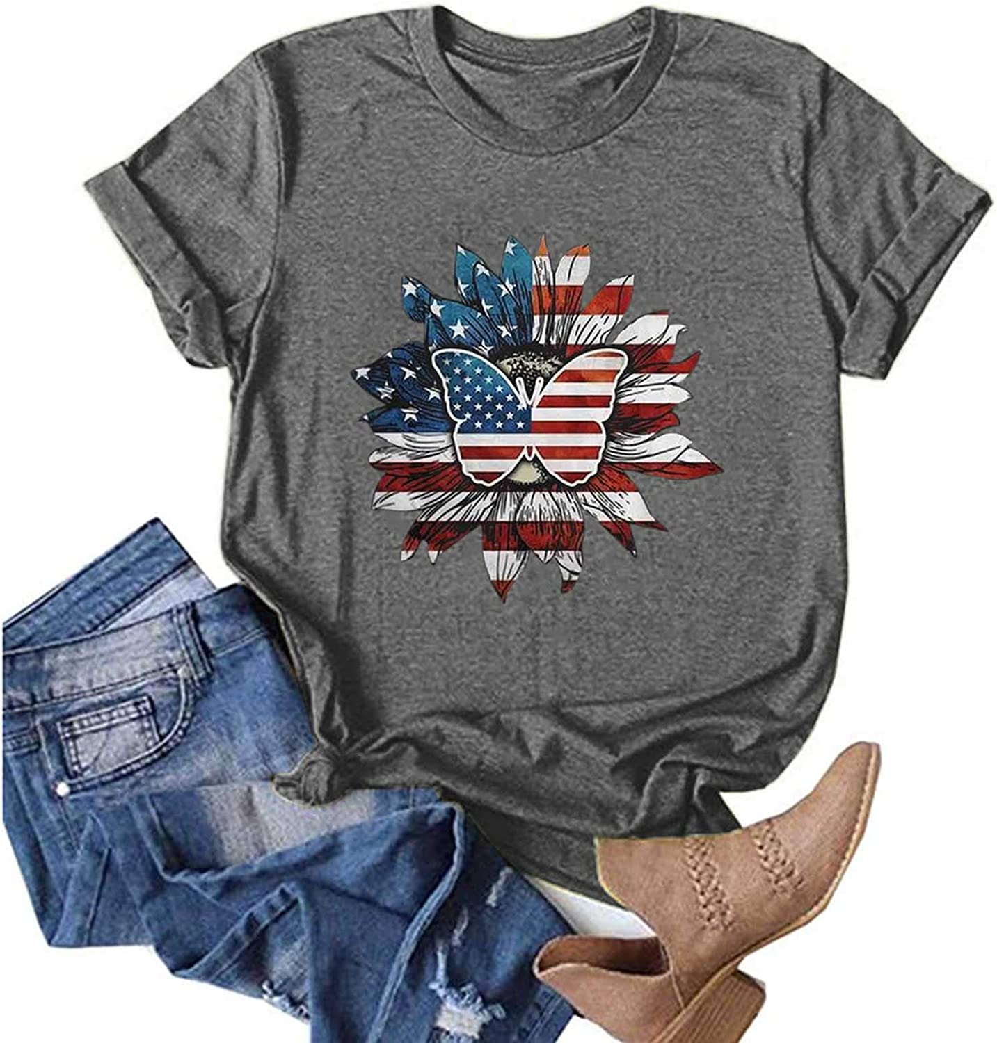 Womens Tops, Womens Independent Day Blouse Short Sleeve Shirts Plus Size Tops Loose Fit Tees Round Neck Graphic Tops