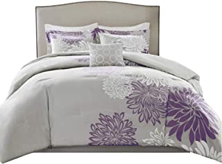 Comfort Spaces Enya 5 Piece Comforter Set Ultra Soft Hypoallergenic Microfiber Floral Print Bedding, King, Purple/Grey