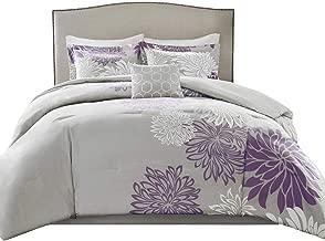 Comfort Spaces Enya 5 Piece Comforter Set Ultra Soft Hypoallergenic Microfiber Floral Print Bedding, Full/Queen, Purple/Grey