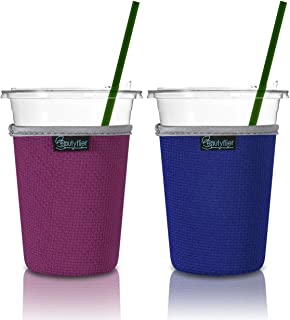 Beautyflier Pack of 2 Insulated Neoprene Ice Coffee Sleeve Anti-Slip Cup Holder for Cold Beverages Starbucks Coffee, McDonalds, Dunkin Donuts (Blue & Hotpink, Medium (20-22oz))