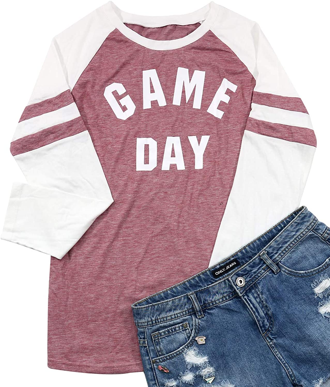 FAYALEQ Women's Game Day Letters Print Raglan Baseball TShirt Long Sleeve Splicing Top Tees