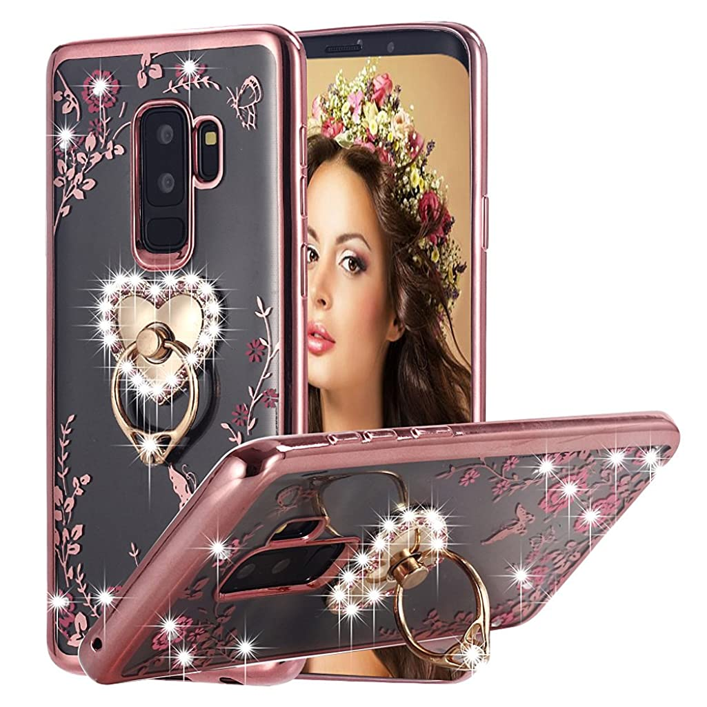 Galaxy S9 Plus Case Pink Ring, Miniko(TM) Soft Slim Bling Rhinestone Floral Crystal TPU Plating Rubber Case with Detachable 360 Diamond Finger Ring Holder Stand for Galaxy S9 Plus