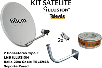 Kit Antena PARABOLICA 60cm Marca Tecatel + Soporte Pared +