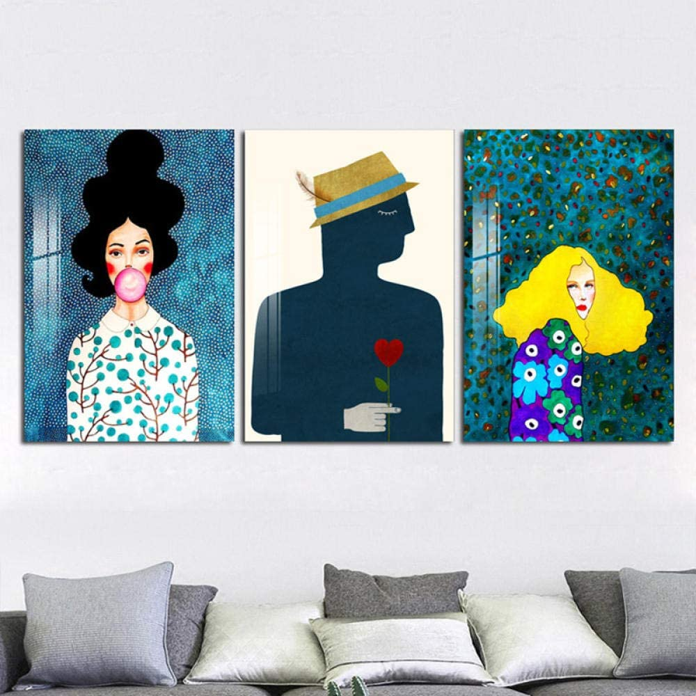 Bgmbb Modern Girl Printed Poster Paitning Abstract Long Hair Women Canvas Painting Picture Bedroom Wall Picture Decoration 60x80cmx3pcs No Frame Amazon Co Uk Kitchen Home