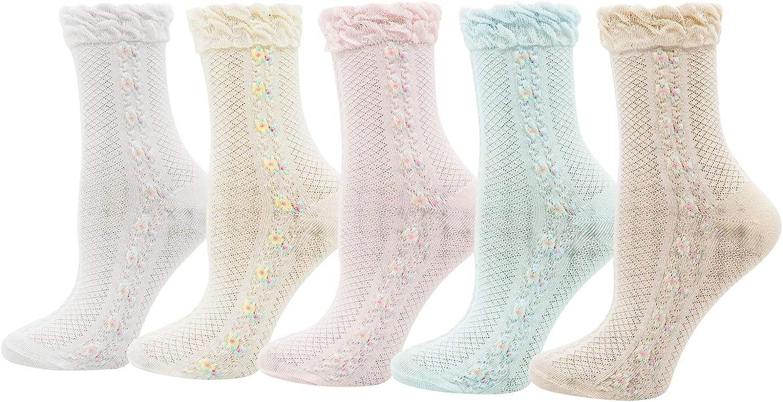 Lovful Womens Ruffle Trim Elastic Casual Socks, Cute Cotton Crew Frilly Socks, Thin Soft Dress Socks 5 Pairs, Multicolored