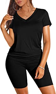 Two Piece Outfits for Women Short Sleeve V Neck Biker...