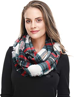 Lucky Leaf Women Girls Cozy Warm Thick Tartan Check Pattern Circle Loop Scarves