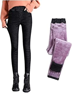 Jeggings Gruesos De Cintura Alta para Mujer Legging De Mezclilla Elástico Pantalones Vaqueros De Moda Cómodos, Pantalones ...