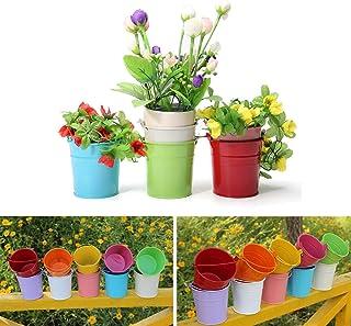 Jeteven 10 Pcs Mini Pot De Fleur En Fer Pot Plante Mural Seau Fleur  Suspendu Déco