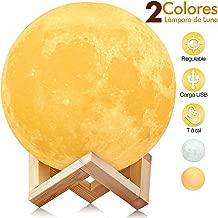 Lámpara Luna, AGM 3D 15cm Luz de Luna LED Conexión USB con 2 Colores Blanco + Amarillo Control Táctil, Lámpara de Noche Nocturna Ambiente para Regalo de Fiesta Decoración