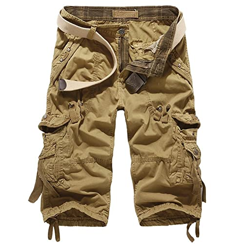 dd7535d29c6 Sunshey Men s Cotton Outdoor Cropped 3 4 Cargo Shorts Pants Summer Casual  Multi Pockets Shorts