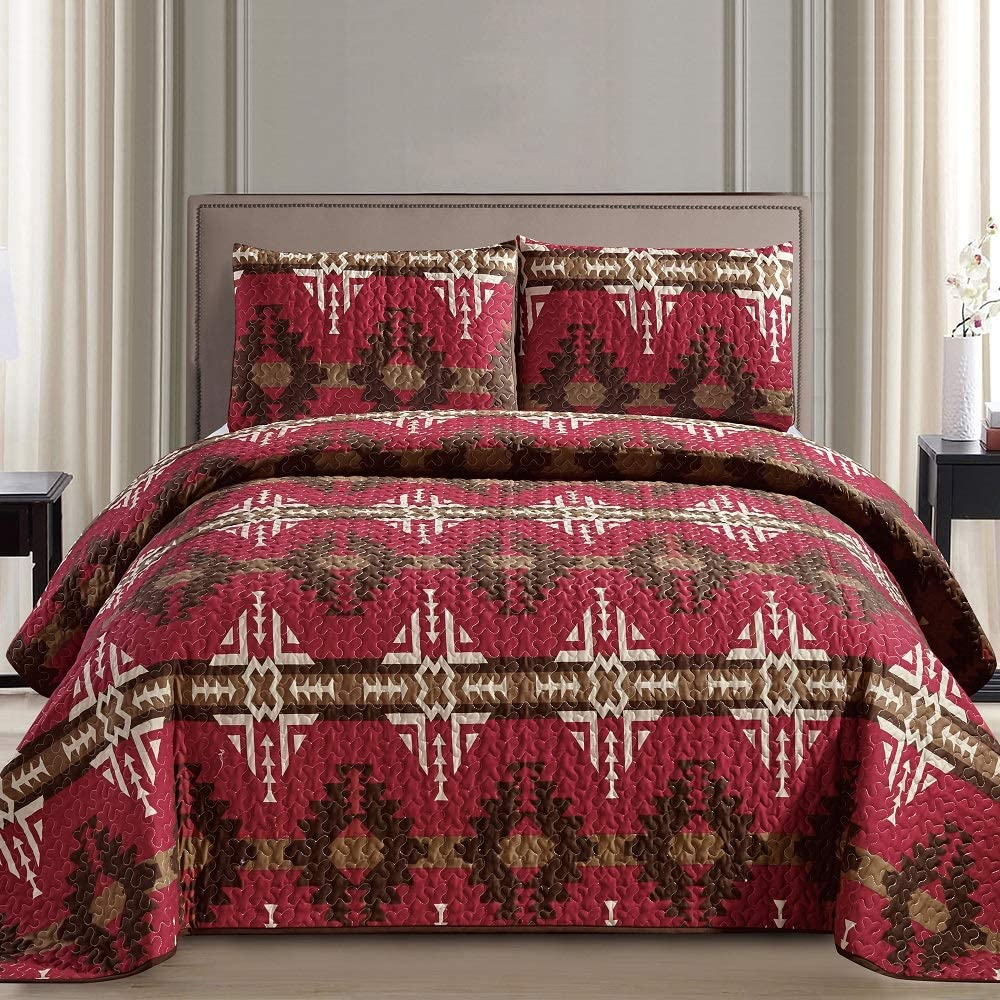 Southwest Burgundy Beige Brown Print Bedspread Complete Free Shipping Max 45% OFF 3 Navajo Na Piece