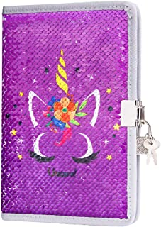 FUMOXING Unicorn Diary with Lock and Keys for Girls, Magic Reversible Sequin Journal Secret Travel Notebook for Kids (Purple)