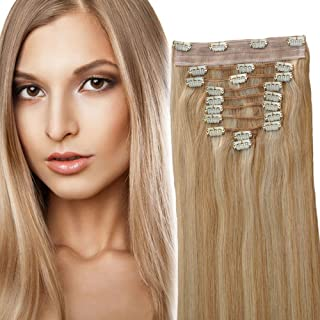 YONNA Clip In Sets 10Pcs Clip In Human Hair Extensions Ash Blonde with Medium Blonde #P18/22 Remy Human Hair Straight For Full Head 18inch 200grams