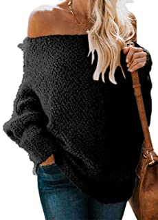 BLENCOT Women's Off Shoulder Long Sleeve Loose Oversized Knit Jumper Pullover Sweaters