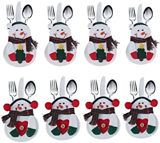 DegGod 8Pcs Christmas Tableware Holders Set, White Snowman Knife and Fork Bags Covers for Xmas Party Dinner Table Decorati...