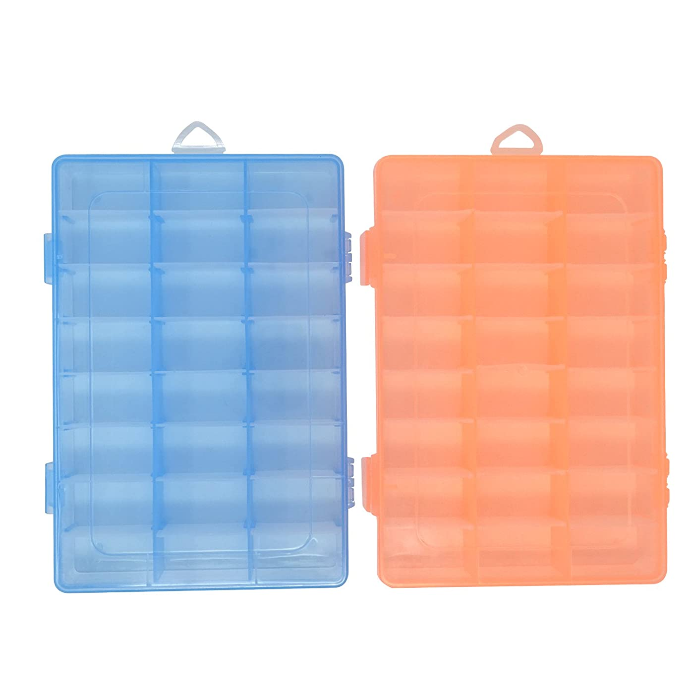 HONBAY 2PCS 24 Grid Transparent Plastic Jewelry Box Organizer Storage Container with Adjustable Dividers for Sorting Earrings, Rings, Beads and Other Mini Goods (Blue+Orange)