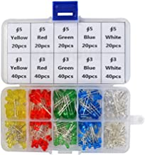 OFNMY LED Diode Lights, 3mm and 5mm LED Lights Emitting Diodes Assortment Set Kit for Arduino Bright White Red Blue Green Yellow, 300-Pack