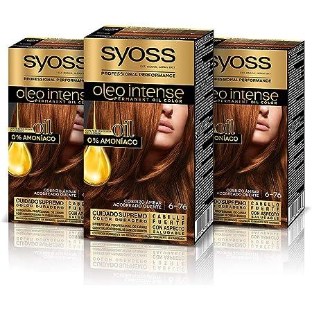 Syoss Oleo Intense - Tono 6-76 Cobrizo Ámbar (Pack De 3) – Coloración permanente sin amoníaco – Resultados de peluquería – Cobertura profesional de ...