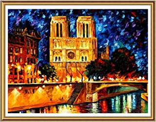 Ginfonr 5D Diamond Painting Paris Places of Interest Full Drill by Number Kits for Adults, Oil Painting Style DIY Paint with Diamonds Art Craft Rhinestone Cross Stitch Decor (12x16 inch)