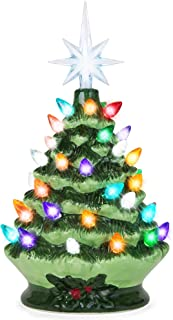 Best Choice Products 9.5in Ceramic Pre-Lit Hand-Painted Tabletop Christmas Tree Holiday Decor w/Multicolored Lights, 3 Star Toppers, Green