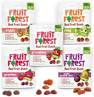 Fruit Forest Real Fruit Gummy Combo Pack Of 5, 100% Naturally Sweet Snack, No Added Sugarr, For kidsss Adults, Vegan, Rasp...