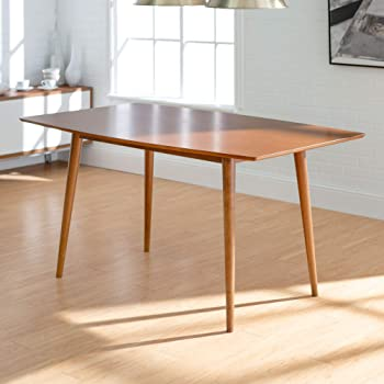 Walker Edison 6 Person Mid Century Modern Wood Hairpin Rectangle Kitchen Dining Table, Brown