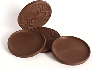 Slipstick CB755 3 Inch Non Slip Rubber Floor Surface Protector Pads (Set of 4 Grippers) Round - Chocolate Brown