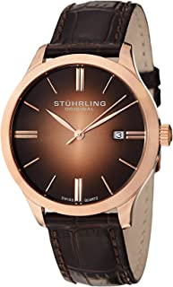 Stuhrling Original Classic Cuvette II Mens Watch - Swiss Quartz Analog Date Wrist Watch for Men - Stainless Steel Mens Designer Watch with Leather Strap 490 Series