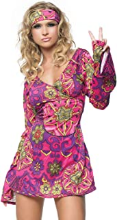 Women's 2 Piece Hippie Girl Costume Retro Print Bell Sleeves Go Go Dress With Head Band