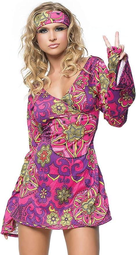60s Costumes: Hippie, Go Go Dancer, Flower Child, Mod Style Leg Avenue Womens 2 Piece Hippie Girl Costume Retro Print Bell Sleeves Go Go Dress With Head Band  AT vintagedancer.com