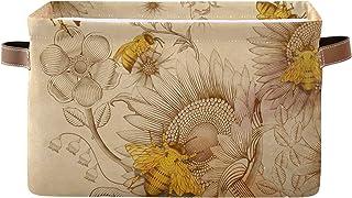 PUXUQU Panier de rangement pliable rétro en forme d'abeille avec poignées - Panier de rangement pour jouets, bureau, chamb...