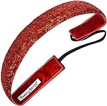 Sweaty Bands Womens Girls Headband - Non-Slip Velvet-Lined Sparkle Hairband - Viva Diva Red 1-Inch