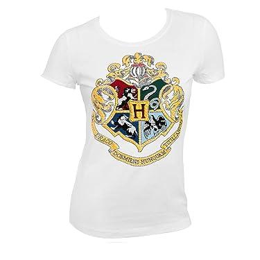 HARRY POTTER Hogwarts Raised & Glittered Crest Girls Youth T-Shirt, White