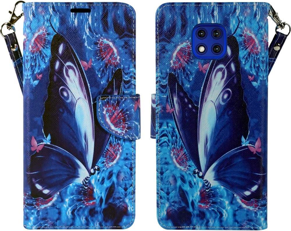 ZASE Moto G Power 2021 Wallet Phone Case PU Leather Flip Folio Pouch for Women Cute Design w/Kickstand ID Holder Card Slot Wrist Strap for Motorola G Power (2021) 6.6-inch (Blue Violet Butterfly)