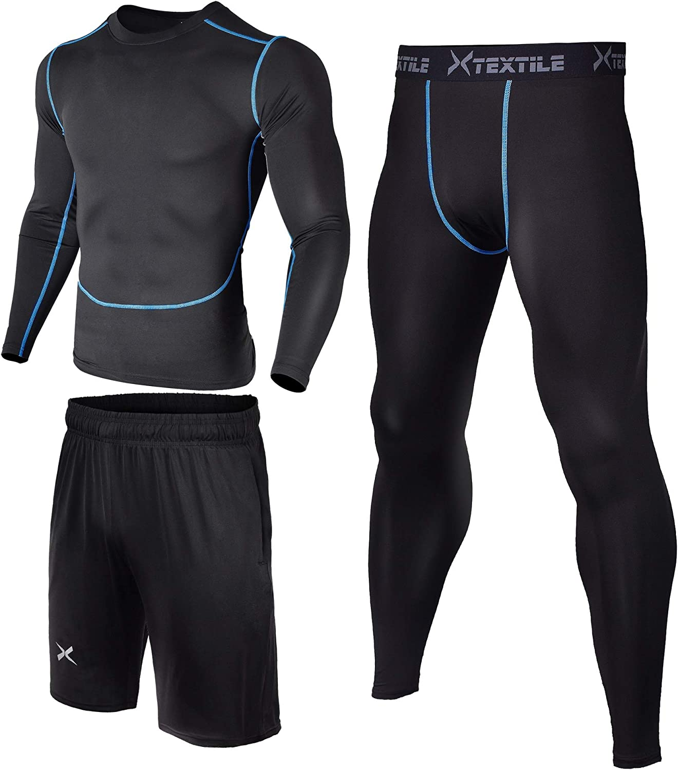 Xtextile 3 Pcs Men's Workout Set with Compression Pants Long Sleeve Shirts and Loose Fitting Shorts for Running Fitness
