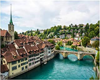 Paint By Numbers View of Old Town in Bern Switzerland Digital Coloring Oil Painting Canvas With Inner Frame Hand-Painted P...
