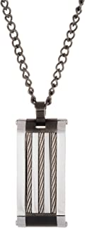 Steve Madden Oxidized Stainless Steel Wire Dog Tag Necklace for Men on 20 Inch Curb Chain