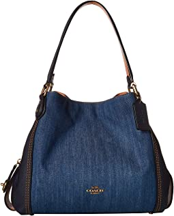 b0edd12c32 Medium Denim Brass. 9. COACH. Denim and Leather Blocked Edie 31 Shoulder Bag