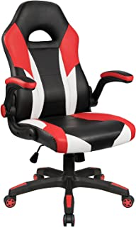 Homall PC Gaming Chair Racing Office Chair Ergonomic Computer Desk Chair Swivel Chair PU Leather High Back Chair for Adults with Flip Up Padded Arms (Red)